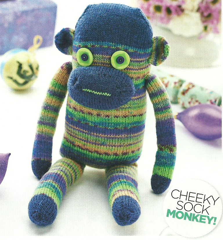 cheeky sock monkey lets knit