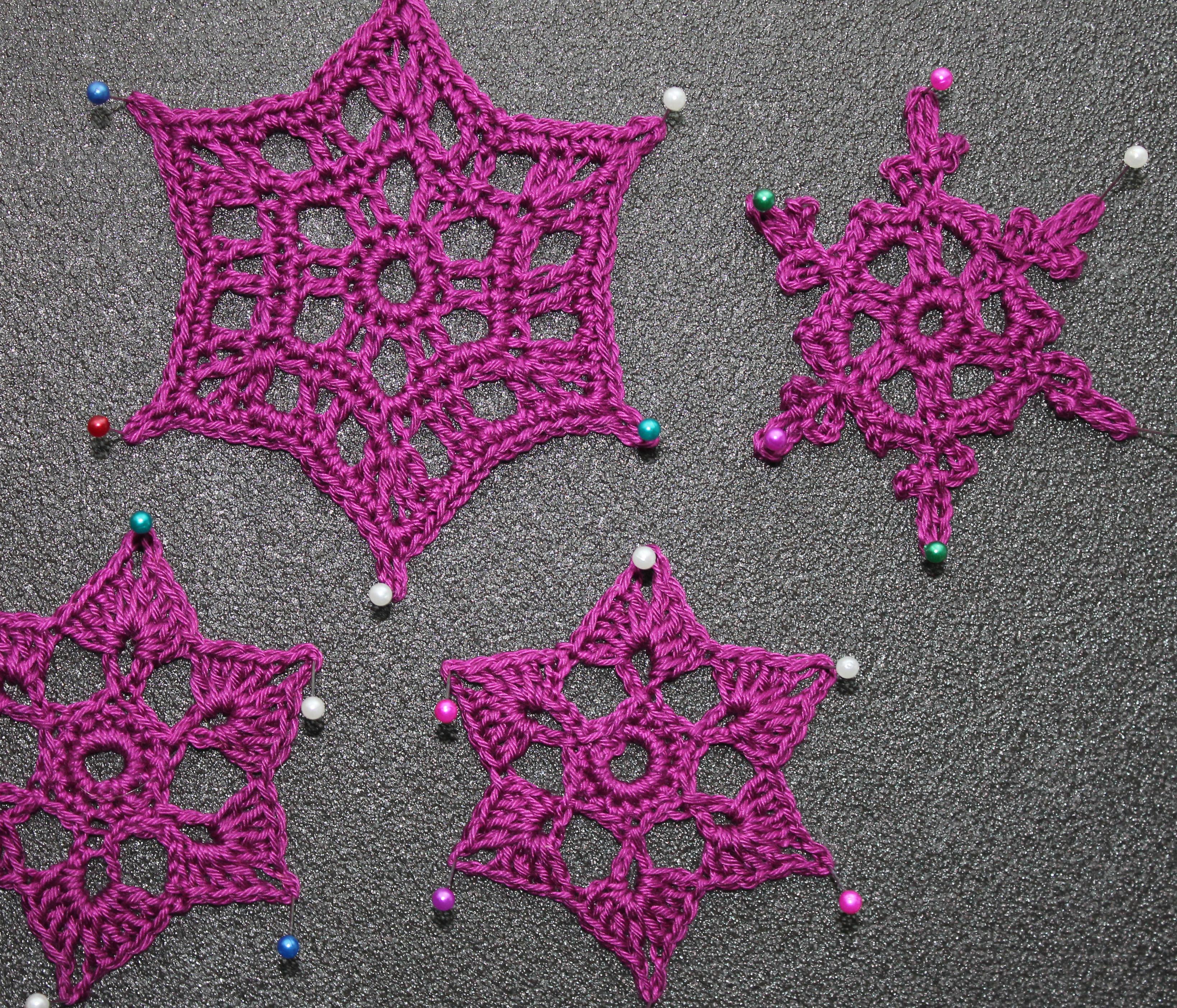 snowflake crochet pre blocking