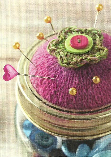 knitted jar lid pin cushion jane burns simply knitting