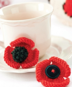 Remembrance Poppy Brooch pattern jane burns knitted