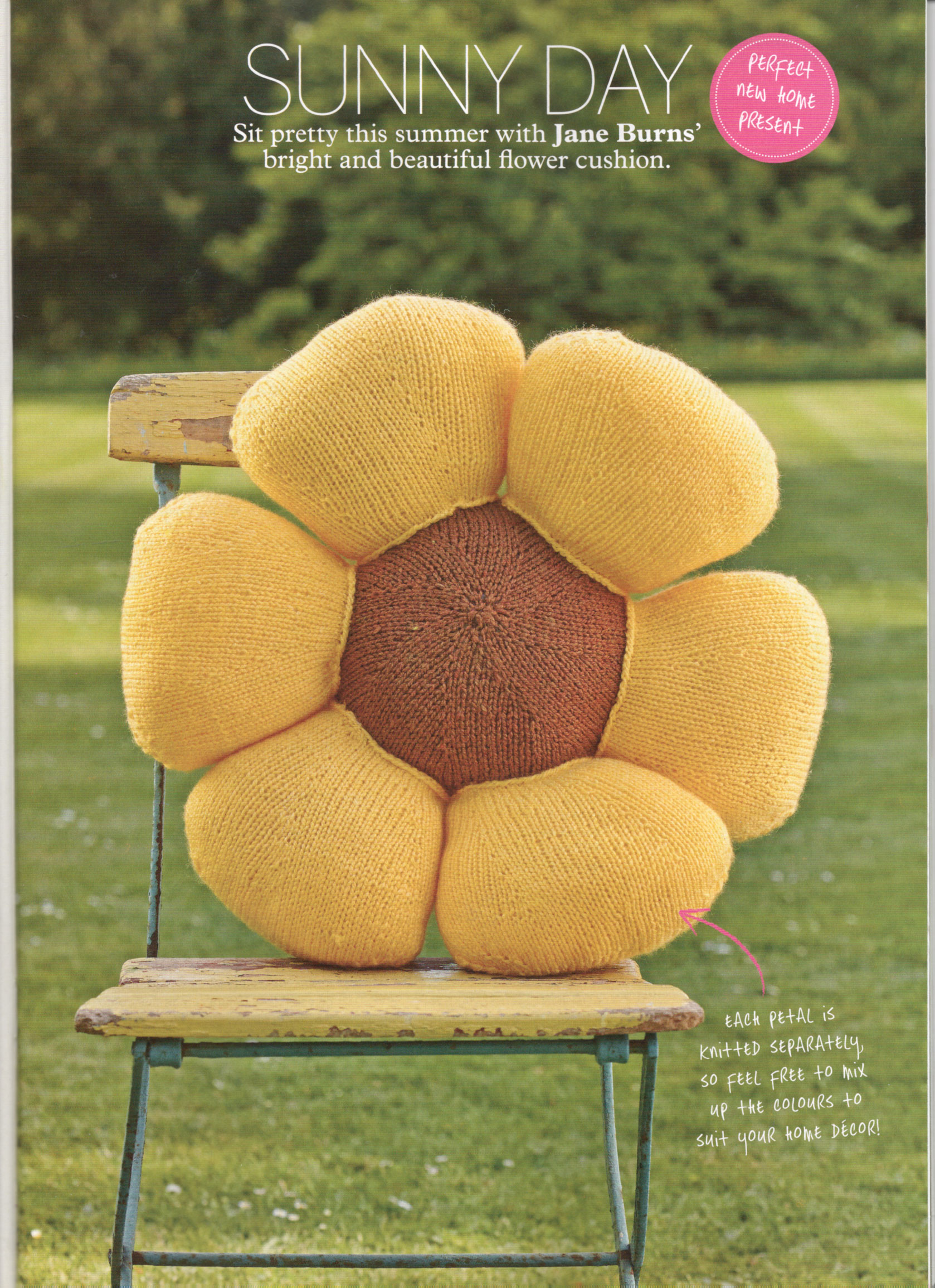 sunny days knitted sunflower cushion jane burns