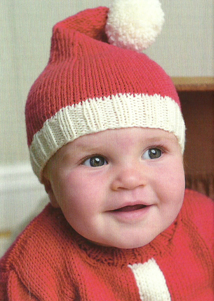 Simple Hat Knitting Pattern In The Round : Santa Baby Hat & SweaterJane Burns Jane Burns