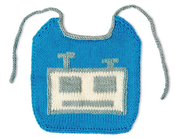 robot bib jane burns knit