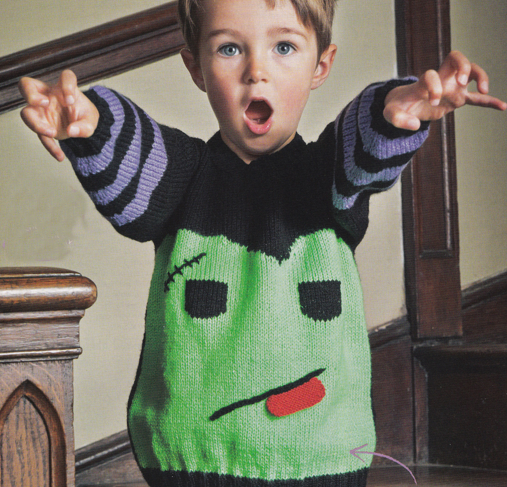 frankenstein sweater halloween jane burns knit