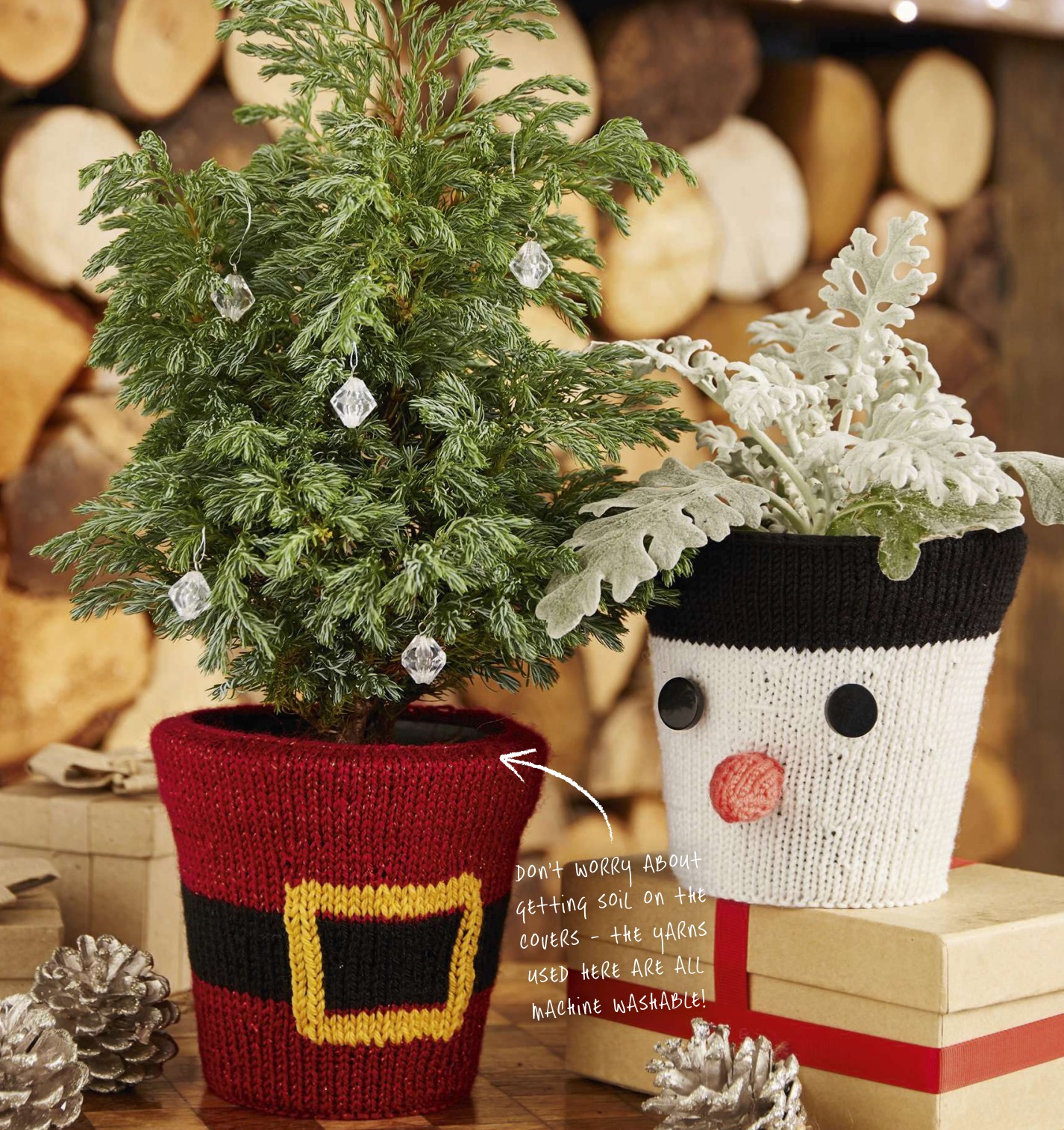 Knitted festive Santa snowman flower pot Jane burns