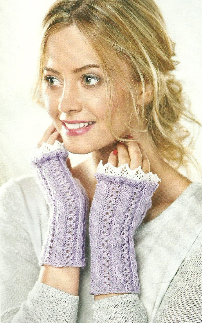 duchess fingerless mittens cable and lace
