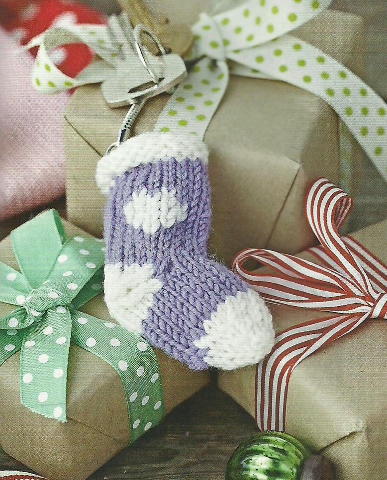 mini knitted sock keyring