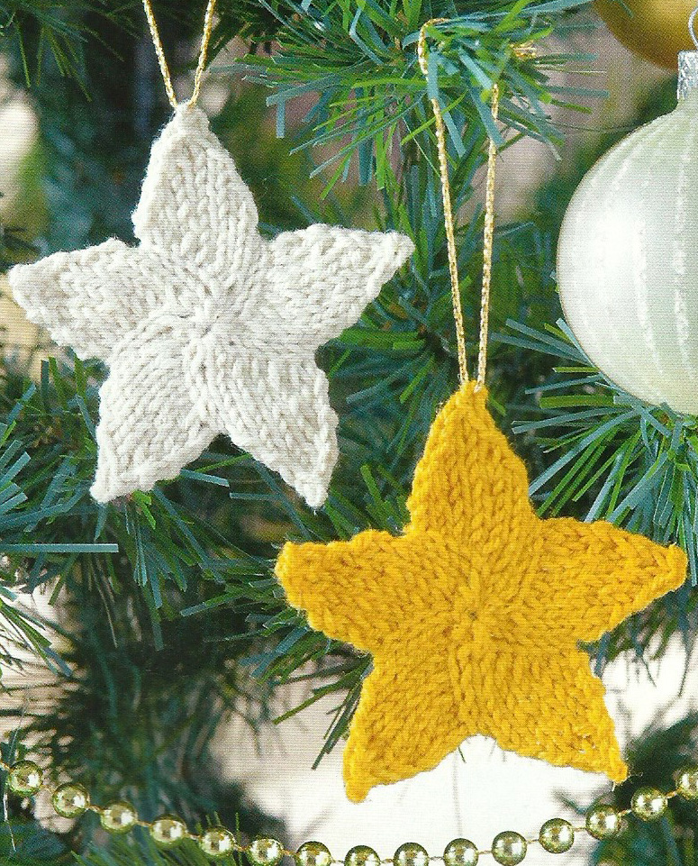 five pointed star knitted christmas decoration simply knitting