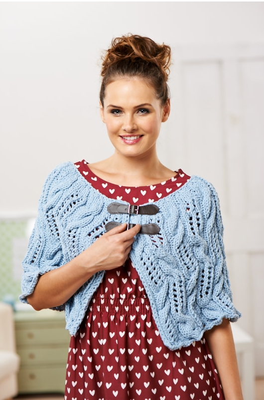 chunky cable and lace cape