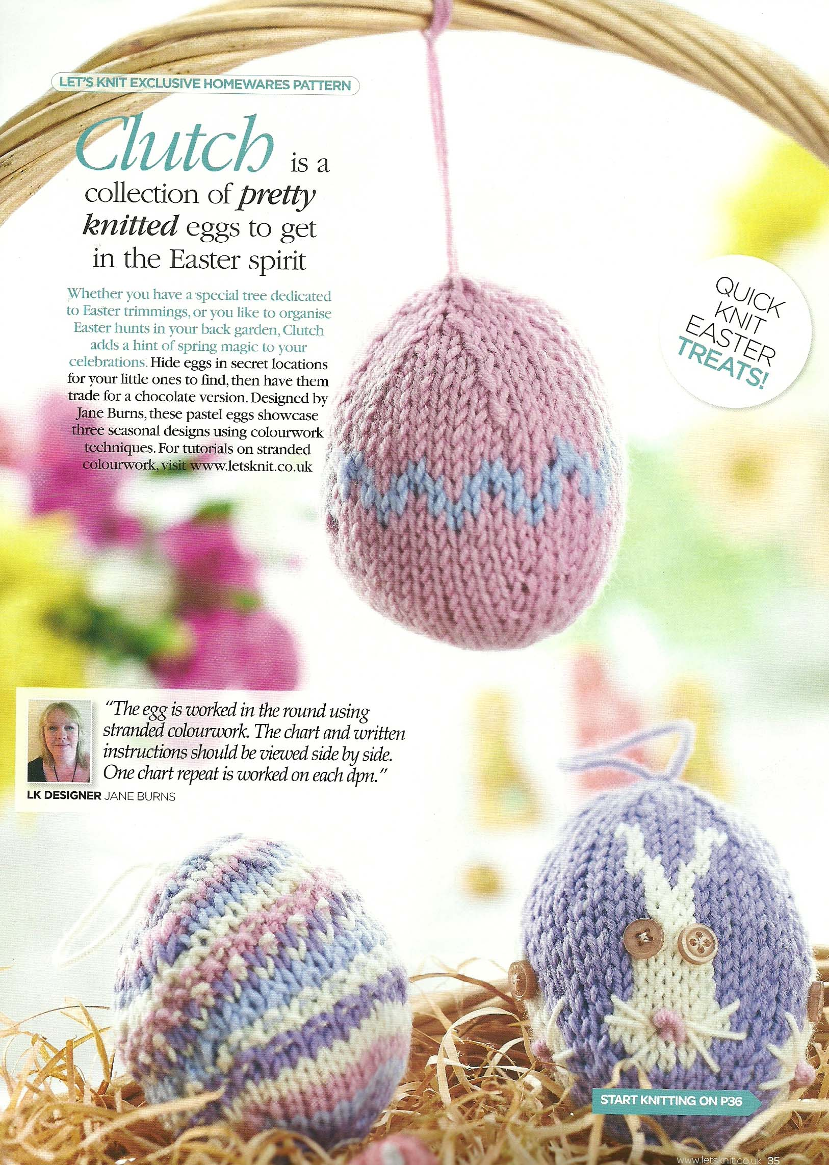 clutch knitted easter eggs jane burns lets knit magazine