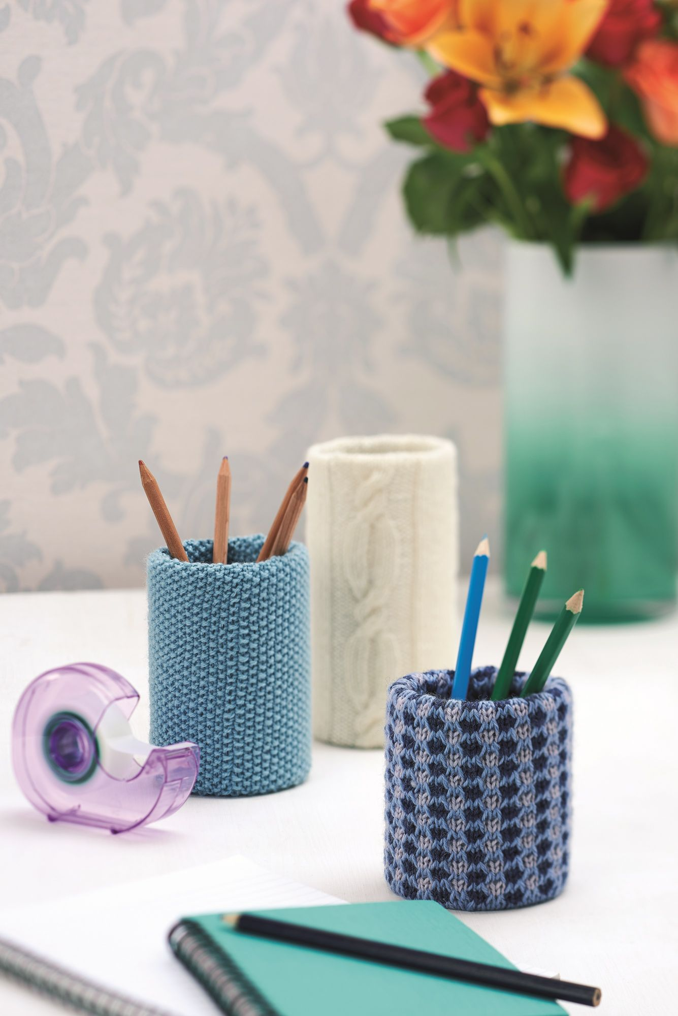 Hot Desk knitted storage jars jane burns