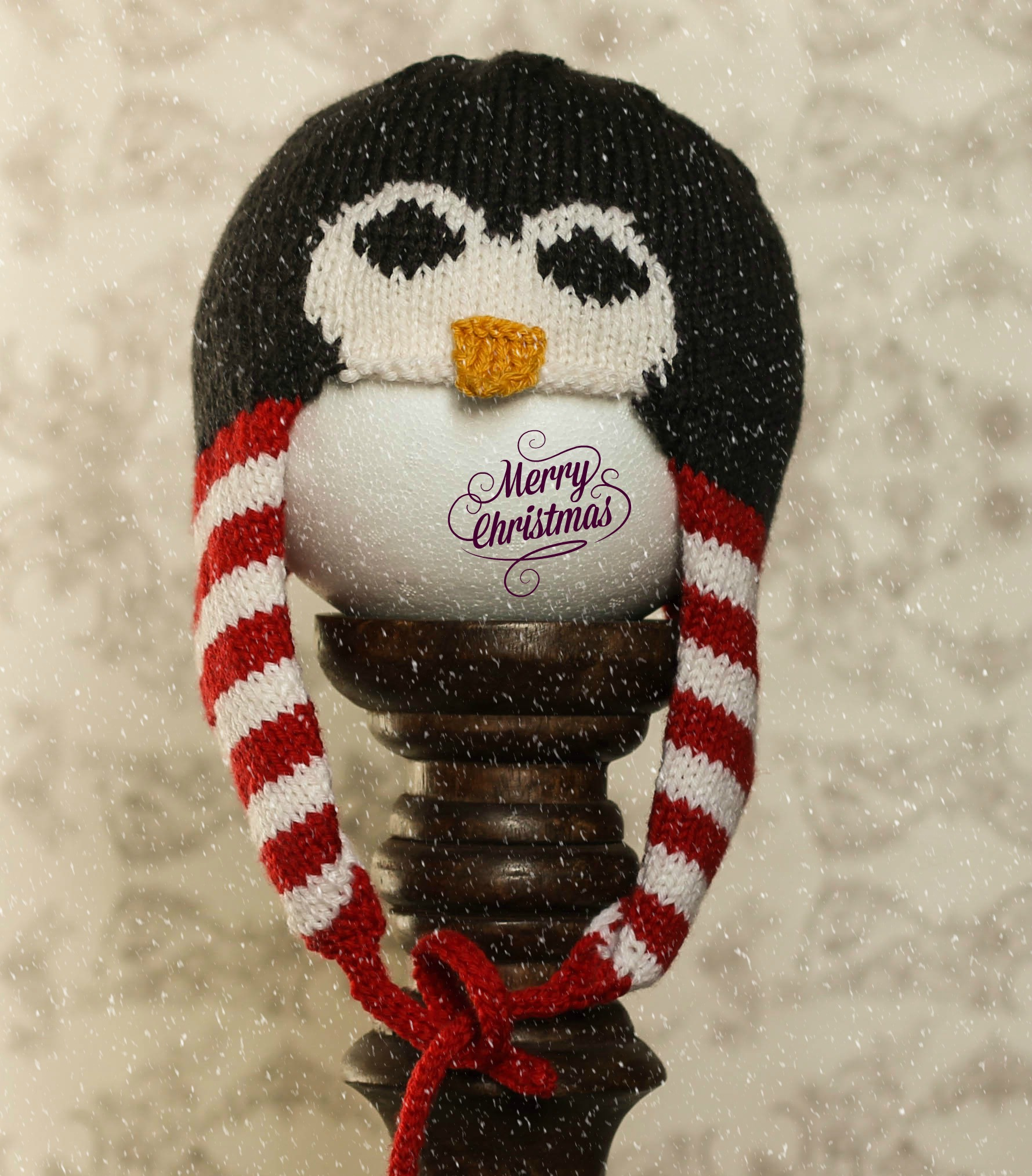 penguin hat knitted jane burns