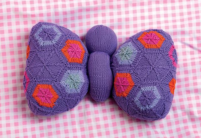 butterfly cushion jane burns knit