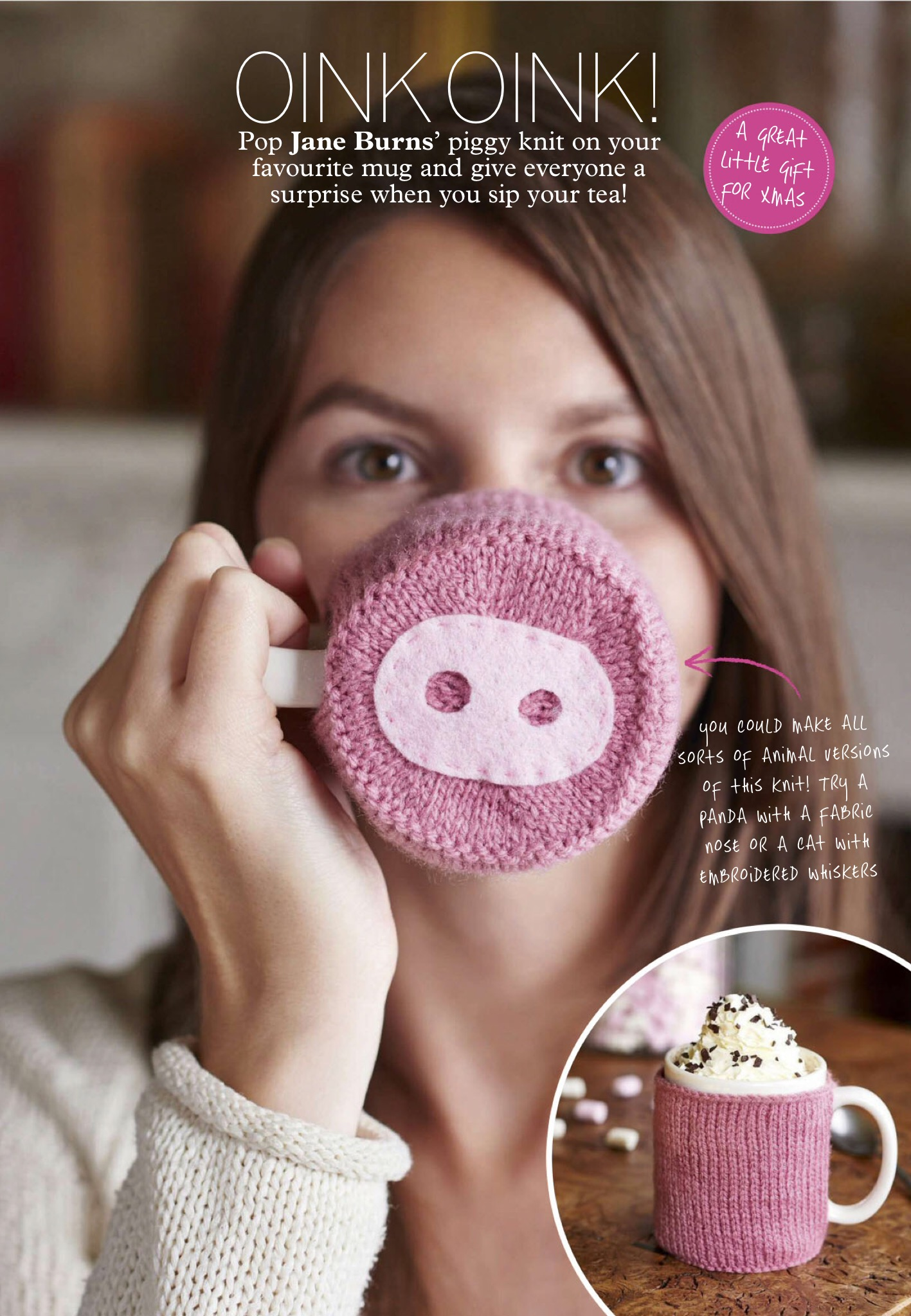 Piggy mug hug Jane burns knit