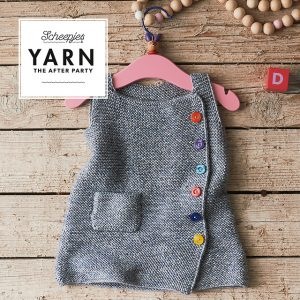 cute as a button pinafore, jane burns, scheepjes, after party, baby knits, knit
